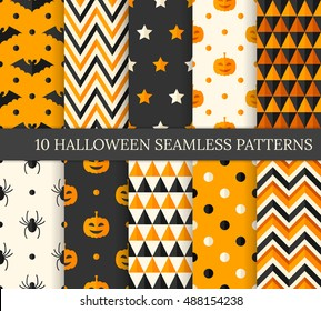 Ten Halloween different seamless patterns. Endless texture for wallpaper, web page background, wrapping paper and etc. Flat style. Pumpkins, bats and spiders.