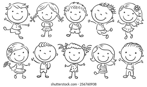 Ten happy cartoon kids, black and white outline