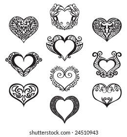 Ten heart ornaments to use in your designs.