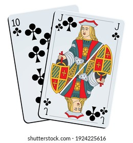 Ten and jack of clubs on white background