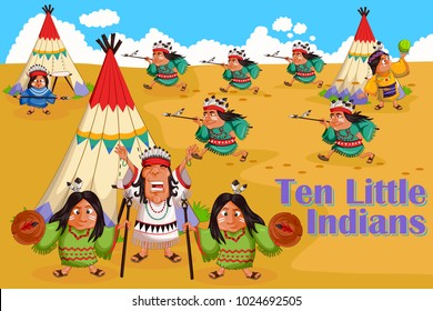 Ten Little Indians, Kids English Nursery Rhymes book illustration in vector