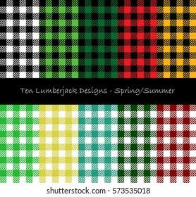 Ten Lumberjack Seamless Pattern Designs - Spring And Summer Season Theme Collection
