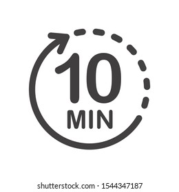 Ten minutes icon. Symbol for product labels. Different uses such as cooking time, cosmetic or chemical application time, waiting time ...