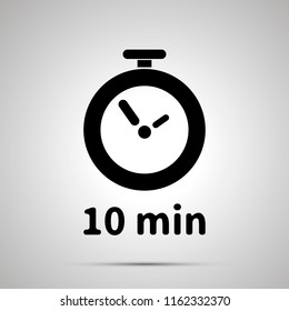 Ten minutes timer simple black icon with shadow