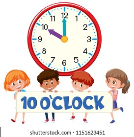 ten o'clock with children  illustration