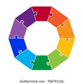 Ten Part Decagon Puzzle Graphic