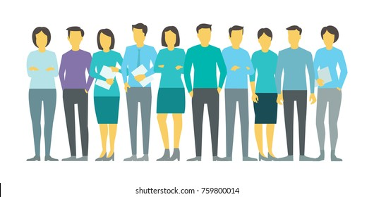Ten people in line group business team persona. Stock vector illustration