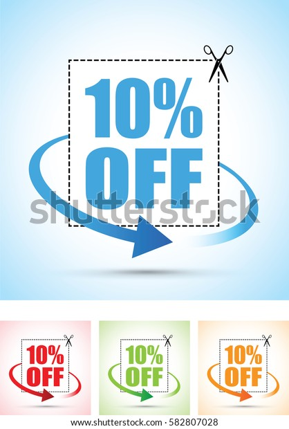 ten per cent off scissors sign with an arrow