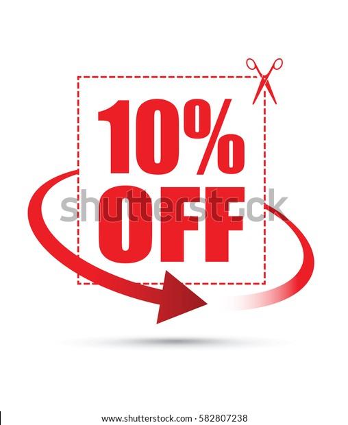 ten per cent off scissors sign with an arrow