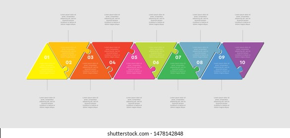 Ten pieces puzzle triangles diagram. Triangle line business presentation infographic. 10 steps, parts, pieces process diagram. Section compare banner. Jigsaw puzzle info graphic. Marketing strategy.