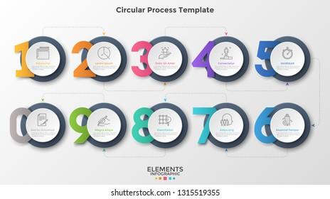 Ten round paper white elements connected by dotted lines and arrows. Concept of 10 successive steps of business process. Modern infographic design template. Vector illustration for presentation.