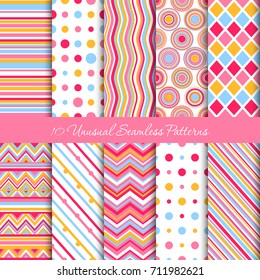 Ten seamless geometric patterns with unequal distribution in five colours: pink, white, light-orange, light-blue and vinous