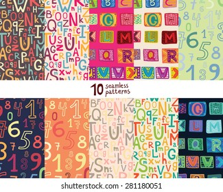 Ten seamless pattern with alphabet and numbers.