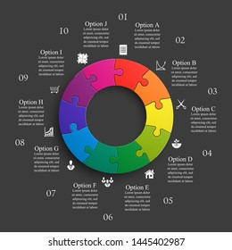 Ten sided 3d round puzzle presentation. Abstract puzzle infographic template explanatory text business statistic. Vector 10 pieces puzzles illustration. Section ten circle compare service banner
