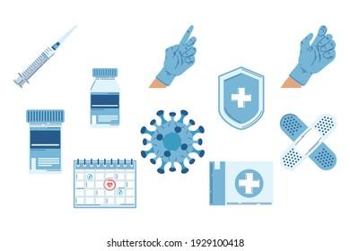 ten vaccine flat set icons