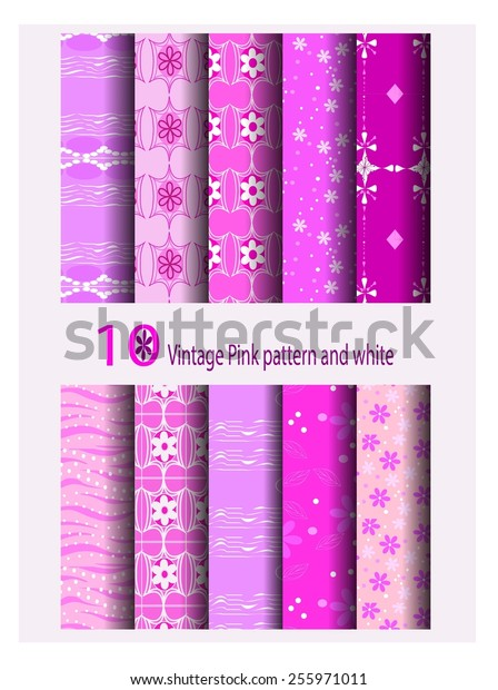 Ten Vintage Style Pink Purple and white seamless pattern differences.