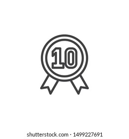 Ten year warranty badge line icon. linear style sign for mobile concept and web design. 10 year guarantee certificate outline vector icon. Symbol, logo illustration. Vector graphics