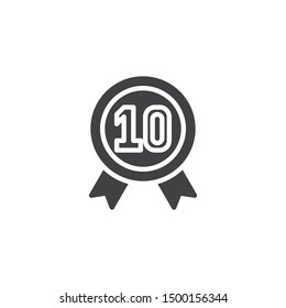 Ten year warranty badge vector icon. filled flat sign for mobile concept and web design. 10 year guarantee certificate glyph icon. Symbol, logo illustration. Vector graphics