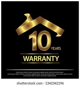 Ten year warranty golden label on black background - Vector