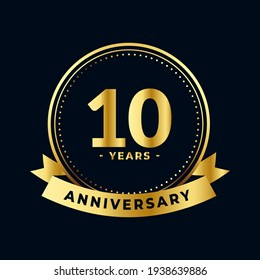 Ten Years Anniversary Celebration Gold and Black Isolated Vector