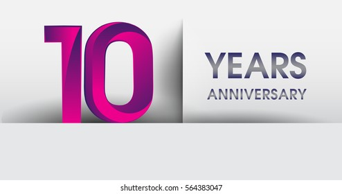 ten years Anniversary celebration logo, flat design isolated on white background, vector elements for banner, invitation card for 10th birthday party