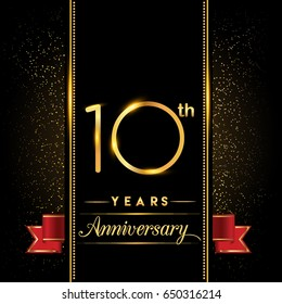 ten years anniversary celebration logotype. 10th anniversary logo with confetti golden colored and red ribbon isolated on black background, vector design for greeting card and invitation card