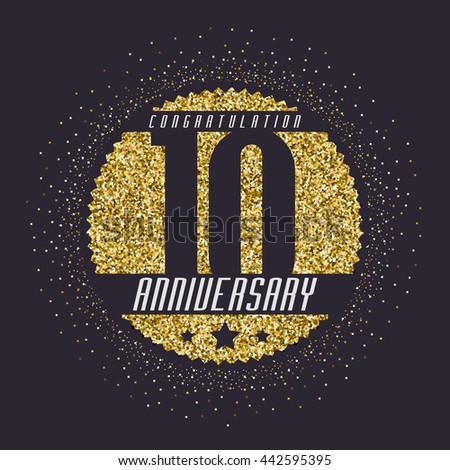Ten Years Anniversary Celebration Logotype 10th Stock Vector