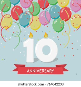 Ten years anniversary greeting card with candles, confetti and balloons