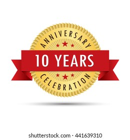 Ten years anniversary, tenth anniversary celebration gold badge icon logo vector graphic design