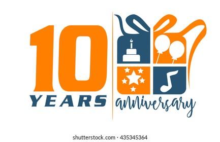 Ten Years Gift Box Ribbon Anniversary
