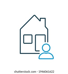 Tenant or landlord with house outline icon. Homeowner of real estate. Tenant, landlord, homeowner line icon. Vector