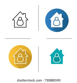 Tenant, resident, housekeeper, owner icon. Flat design, linear and glyph color styles. Private property. Real estate. Isolated vector illustrations