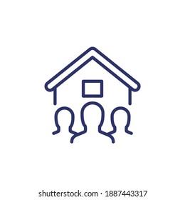 tenants, house residents line icon on white