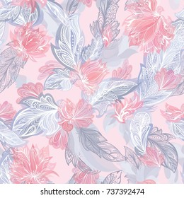 Tender Feather Pattern Seamless romantic texture with doodle ornamental flowers and tribal elements in pastel red and grey colors on soft pink background