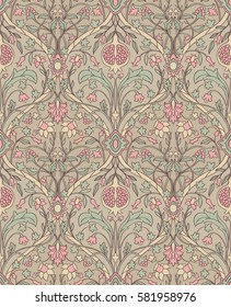Tender floral pattern. Seamless filigree ornament. Stylized template for wallpaper, textile, linen, bedspread, curtain, shawl, tile, carpet and any surface.