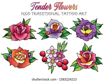 Tender Flowers Neo Traditional Tattoo Art, Roses, Cherry