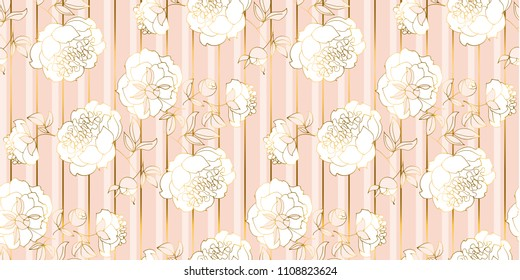 Tender pale gold and rosy flower seamless pattern. Floral vector illustration for wedding background, wrapping paper, fabric, surface design