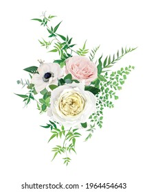 Tender, romantic vector floral bouquet illustration. Watercolor style anemone flower, blush pink, creamy yellow roses, greenery jasmine vines and fern leaves. Wedding invite, greeting designer element