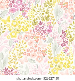 Tender seamless pattern with flowers and butterflies. Vector floral illustration in vintage style.
