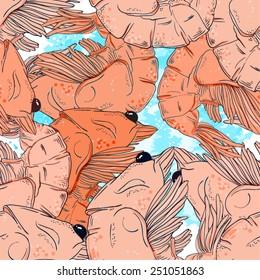 tender shrimp - vector picture - seamless pattern