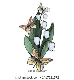 Tender sprig of lily of the valley surrounded by butterflies