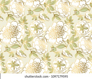 Tender white peony flower seamless pattern. Luxury spring floral endless repeatable motif for wallpaper, wedding invitation, fabric, surface design. stock vector illustration