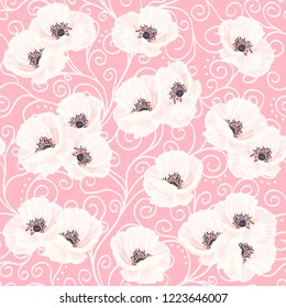 Tender white vector anemones and white liana on the pink background seamless pattern