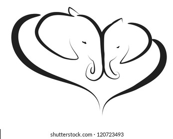 tenderness, vector image of couple of elephants