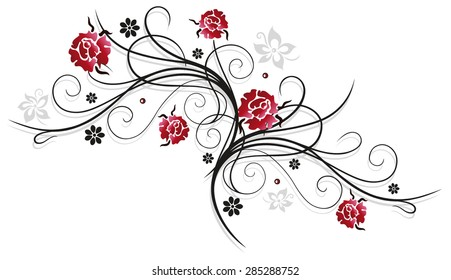 Tendril with red roses, colorful summer flowers