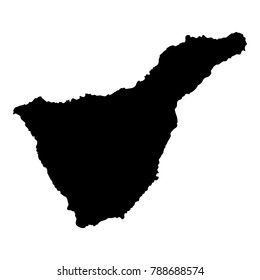 Tenerife map. Island silhouette icon. Isolated Tenerife black map outline. Vector illustration.