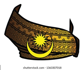 Tengkolok, also known as destar, setanjak/tanjak, semutar and setangan kepala, is a traditional Malay male headgear. It is made from long songket cloth folded and tied in particular style (solek).