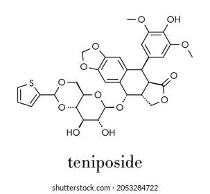 Teniposide cancer drug molecule (topoisomerase II inhibitor). Skeletal formula.