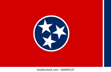 Tennessean official flag, symbol. American patriotic element. USA banner. United States of America background. Flag of the US state of Tennessee, correct size, proportions, colors, vector illustration