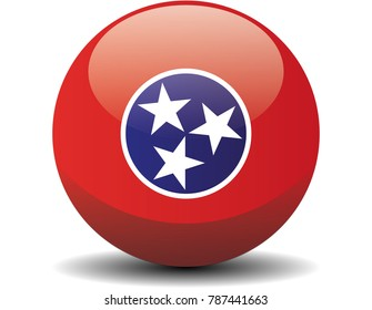 Tennessee circle button flag background texture. Vector illustration.